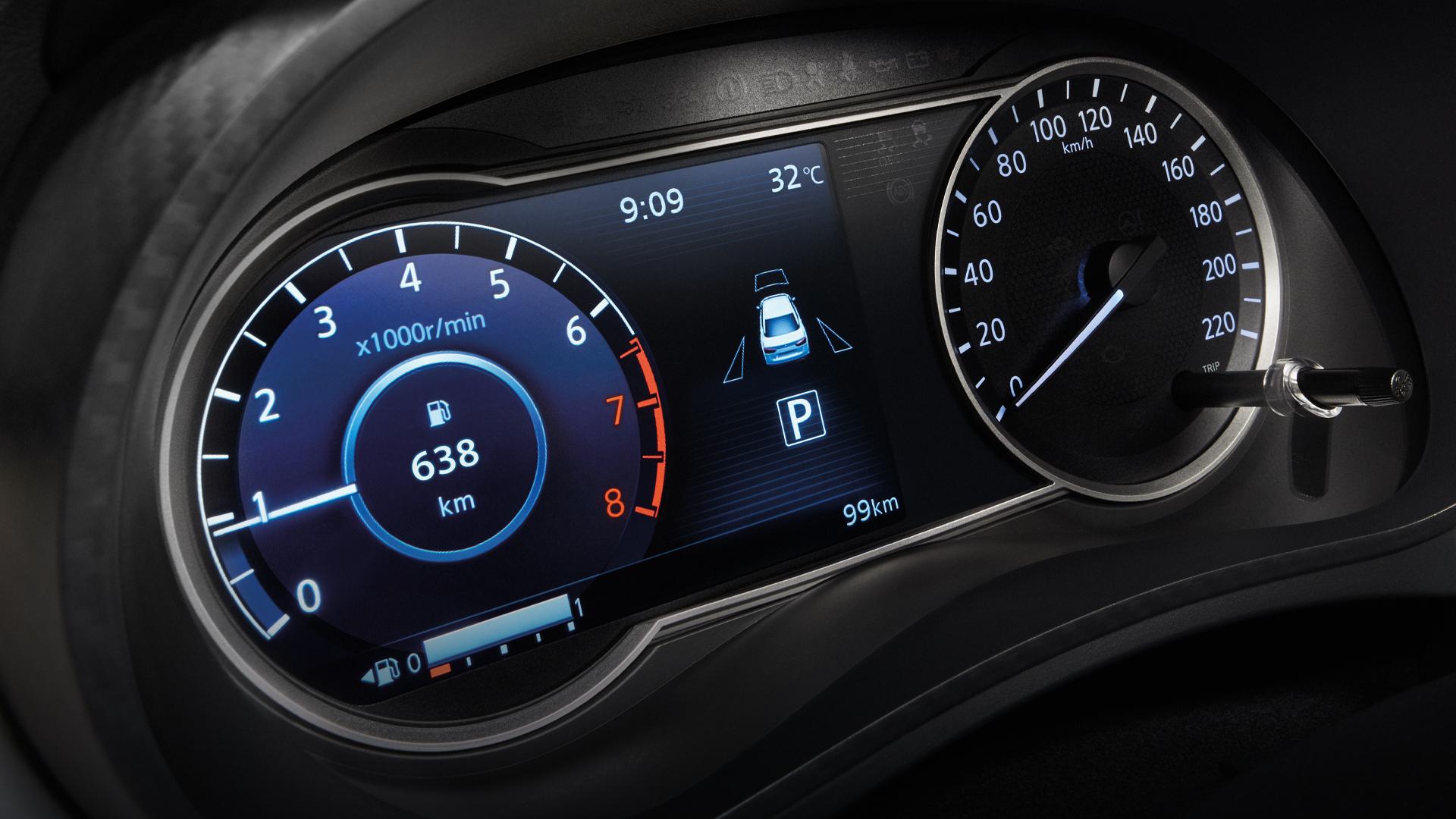"Full colour 7"" semi digital display provides brilliant customizable drive Information"