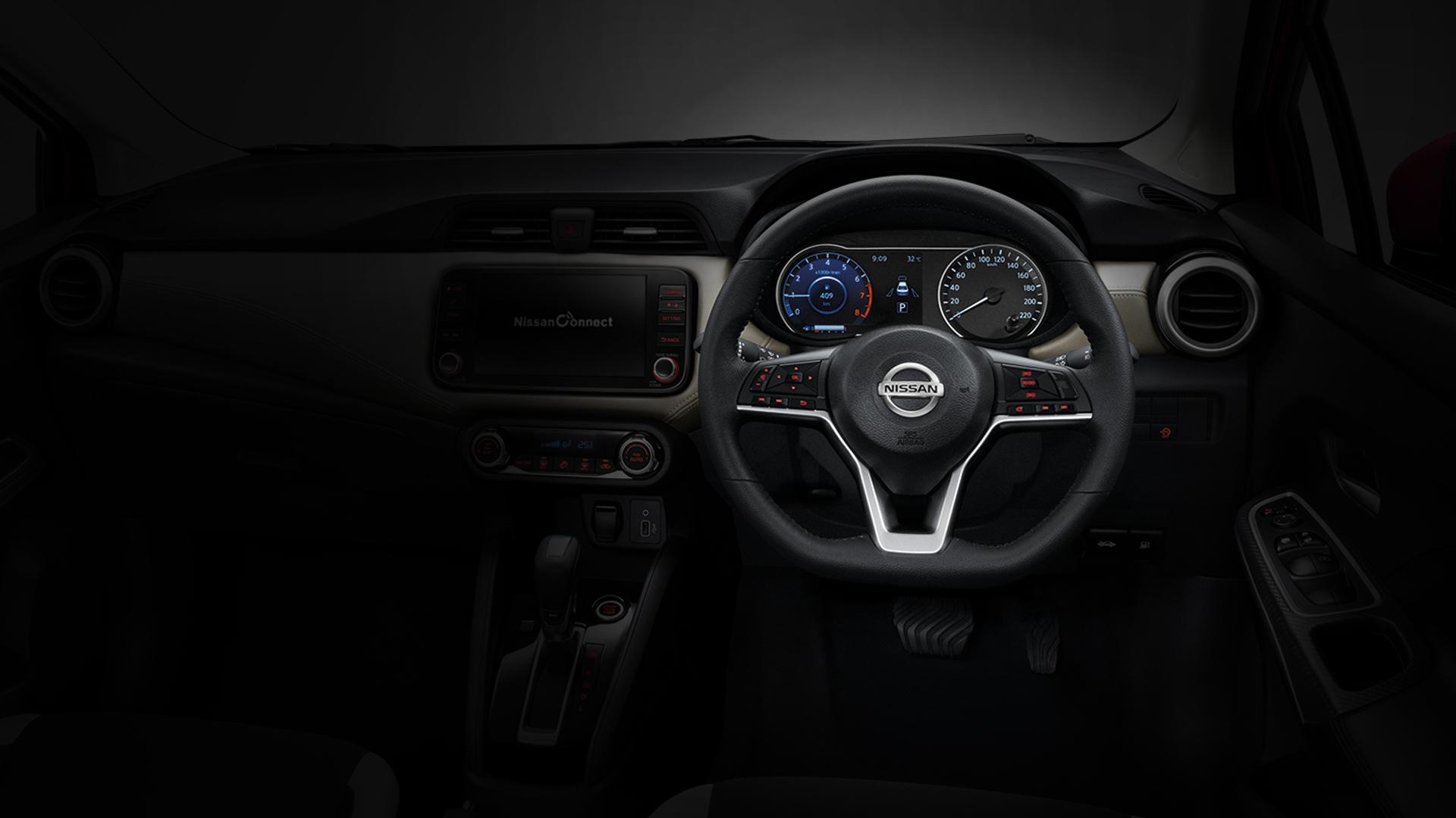 Sporty flat bottom leather steering wheel